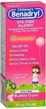 Benadryl Children S Dye Free Allergy Liquid Bubble Gum Flavored 4 Oz Union Pharmacy
